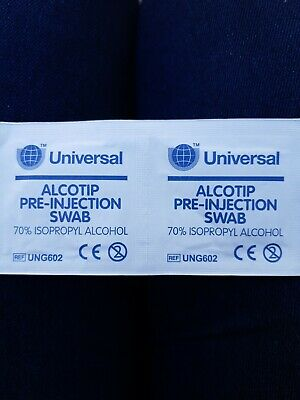 100 Universal Pre Injection Swabs 70% IPA Alcohol Wipes NHS Grade Tattoo Nails