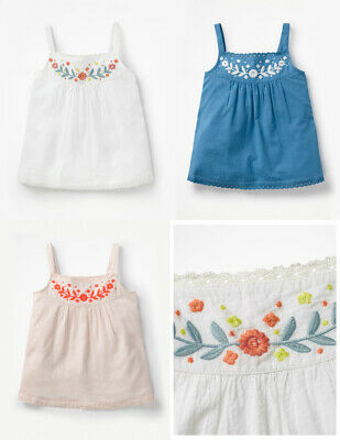 New Mini Boden embroidered strappy vest top 2-12 years