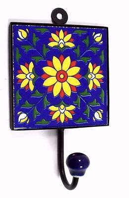 Vintage Handmade Beautiful Ceramic Tile Wall Hanging Hook Decorative. i75-54 UK