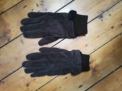 Mens vintage suede leather gloves winter accessories size small dark brown
