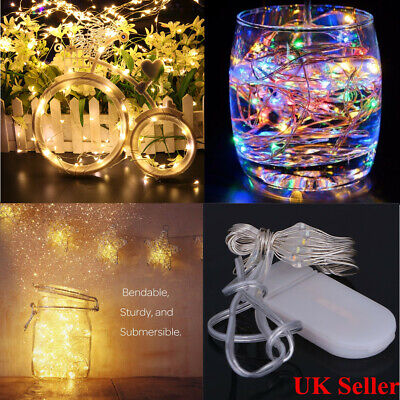 60/40/20 LED Battery Micro Rice String Fairy Lights Copper Wire Room Party Decor