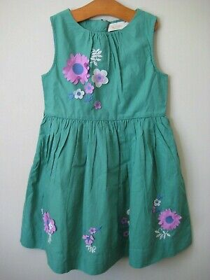 New Mini Boden Vintage Dress 3-12 years green applique flowers