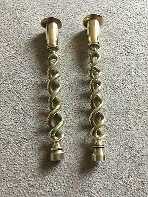 A Large Pair Of  Vintage Antique Solid Brass Twisted Candlesticks