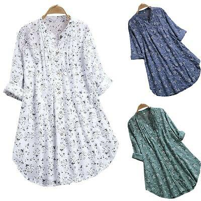 Plus Size Women Cotton Floral Top Blouse Long Sleeve Loose Tunic Shirt Baggy Tee