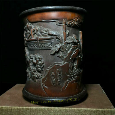 Collection Chinese Bamboo wood Hand-carved tree children Pen container brush pot