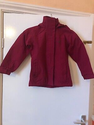 Girls Trespass red  waterproof coat/ jacket with hood. Age 5-6 years VGC