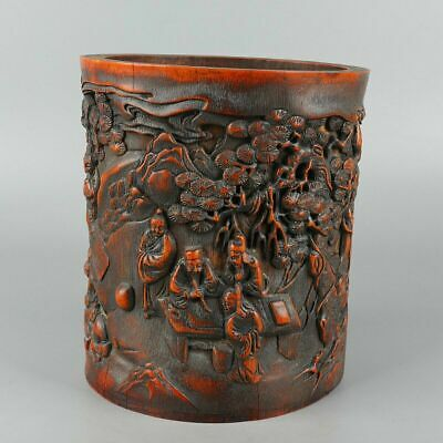 Chinese Exquisite Hand-carved the ancients Carving bamboo Brush Pot