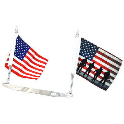 License Plate Mounted Double Flag Holder American + Veterans Day American Flags