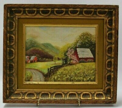 """Original Oil Painting By Billie Tichenor In Wood Frame Signed 15x13"""" Farm Scene"""