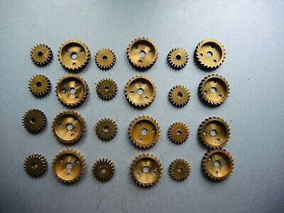 24 x Antique VTG Solid BRASS GEARS PARTS ART Steampunk Collage GUSTAV BECKER