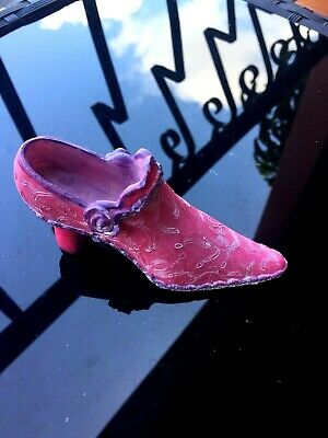 VINTAGE miniature shoe collectible figurine victorian style pink & purple color