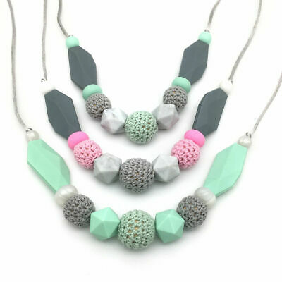 Baby Teething Silicone Wood Crochet Beads Teether Necklace Toy Jewelry BPA Free