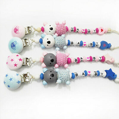 Crochet Wood Beads Bear Pacifier Chain Holder Cute Baby Dummy Soother Clip Toys