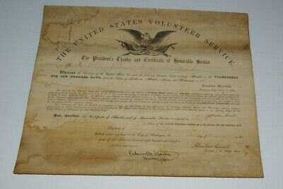 Abraham Lincoln Document Signed Civil War  Certificate 1864 Thomas 133 Ill Vol
