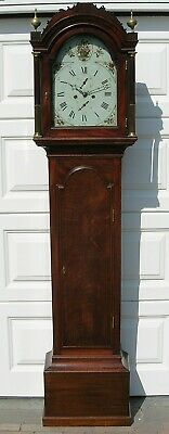 Mahogany Cased Painted Arch Dial Eight Day Longcase Clock