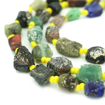 Full Strand Afghani Ancient Roman Glass Fragment Beads - Recycled Roman Glass