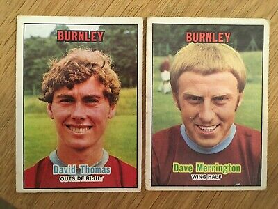 2 Trade Cards Burnley Players by A&BC Gum 1970 Footballers (Orange Back 1-85)