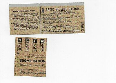 World War II Ration Books Basic Mileage Ration and Sugar Ration partial