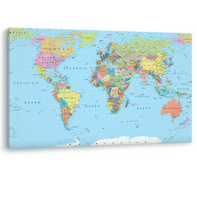World Map with Countries & Capitals Large Canvas Wall Art Picture Print A0 A2