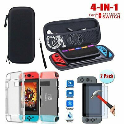 For Nintendo Switch Travel Carry Case Bag + Glass Screen Protector Charge Cable