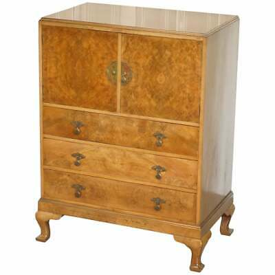 Stunning Robson & Sons Circa 1910 Burr Walnut Drinks Cabinet Chest Of Drawers