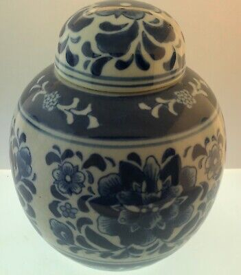 Vintage Hand-painted Blue Chinese Urn Lidded Pot