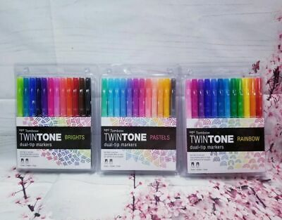 Tombow Twin Tone Brights, Pastel, Rainbow 3 pack