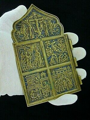 Antique 19th Russian Orthodox bronze Skladen icon enamel.