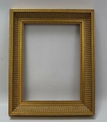 "Ornate Gold Painted Solid Wooden Picture Mirror Frame for 9 x 12"" No Glass"