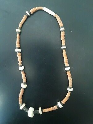"""Ancient Antique Pre-columbian Hand Made Clay Seaside Culture 12"""" Necklace"""
