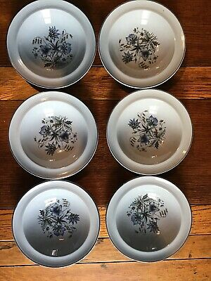 Woods Ware Blue Iris Dessert Bowls With Blue Flowers c1940s X6