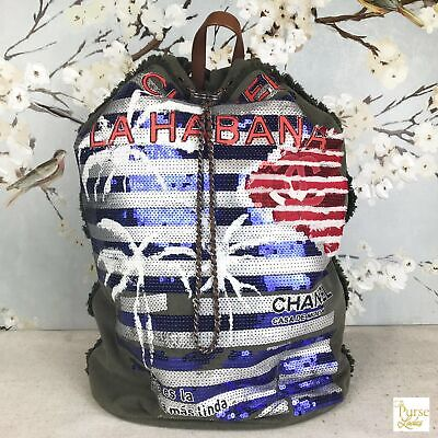 CHANEL Green Canvas Coco Cuba Sequin Palm Tree Backpack NEW RARE! Limited Ed