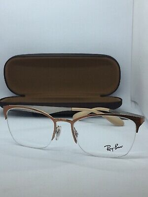 New Authentic Ray Ban Eyeglasses Rb 6345 2920 Brushed Brown Silver 52-17 Fast