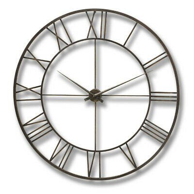 Industrial Distressed Antique Brown Skeleton Cut Out Metal Wall Clock 120 cm