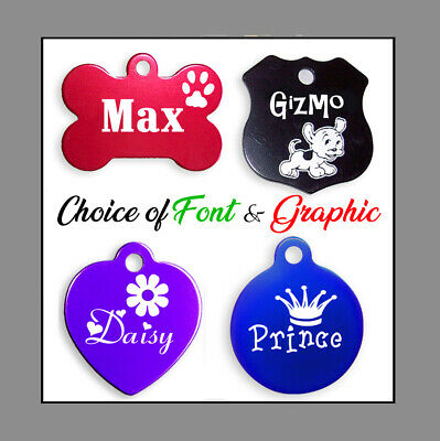 Custom Engraved Double Sided Pet Name ID Tags for Dog & Cat / 9 Colors,  LOOK!