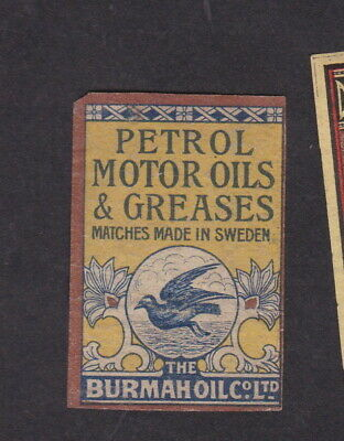 AE Old  Matchbox label Sweden LLLL1 Petrol Motor Oils & Greases Bird