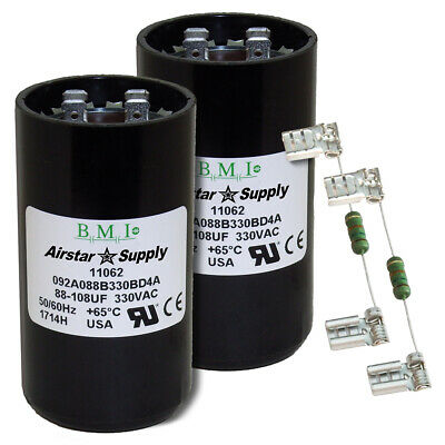 BMI Start Capacitor # 092A108B165AC1A Made in The USA Pack 2 108-130 uF x 165 VAC