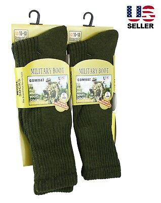 2 Pairs Men Military Boot Wool Thermal Combat Thick Warm Winter Outdoor Socks