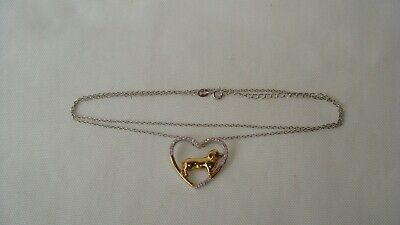"""S925 Sterling Silver Yellow Gold CZ Heart W/Dachshound Dog Pendant Necklace 20"""""""