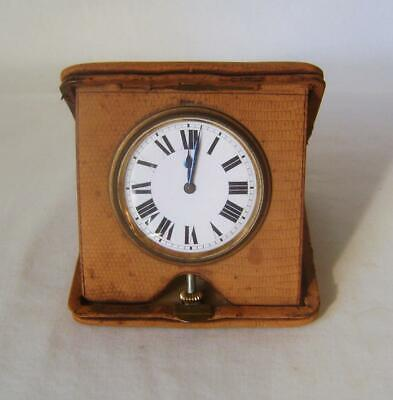 Vintage Buren Swiss Travel Clock in Folding Leather Case Working Order Nice Dial
