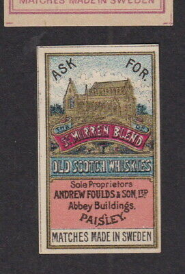AE Old small Matchbox label Sweden LLLLL43 Old Scotch Whiskies