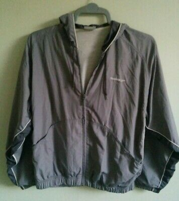 REEBOK Running Jogging Sports Jacket zipped Top. Size L 42. Grey. Lined. Hood.