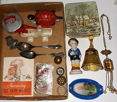 Vintage/Antique Junk Drawer Lot Turtle Stapler Kellogg's Booklet Silver Spoons