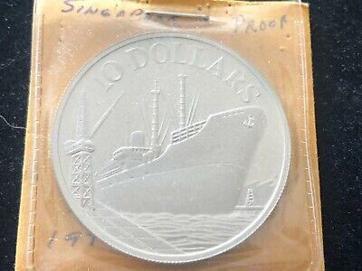 1977 Singapore 10 Dollars - Proof World Silver Coin 31.1g