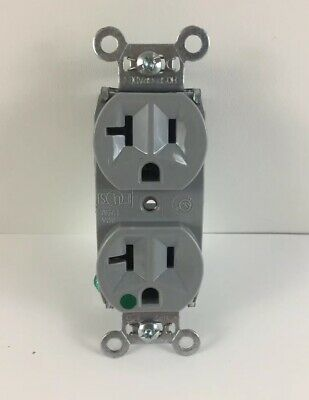 1pc Duplex Receptacle 20A, 125V, Gray Compact Hospital Grade - 8300-HGRY