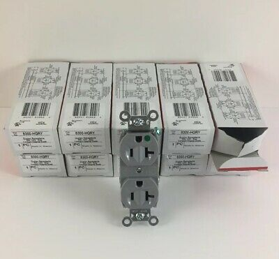 10 pc Legrand Duplex Receptacle - 20A, 125V, Gray, Compact Hospital Grade