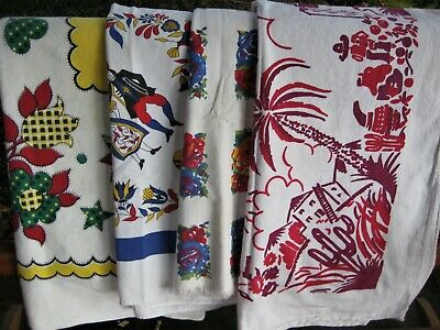 4 Vintage Lot Printed Tablecloths Cutters