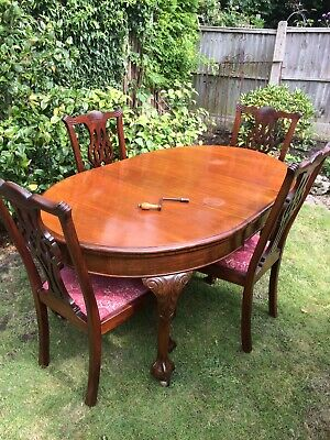Antique Vintage Style Ball And Claw  Mahogany Extending Dining Table And Chairs