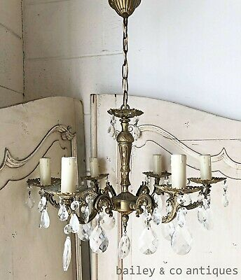 Antique French Chandelier Bronze Cut Glass Crystals Louis Style - PQ505