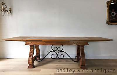 French Vintage Spanish Style Large Extension Dining Table Oak Wrought Iron OF145